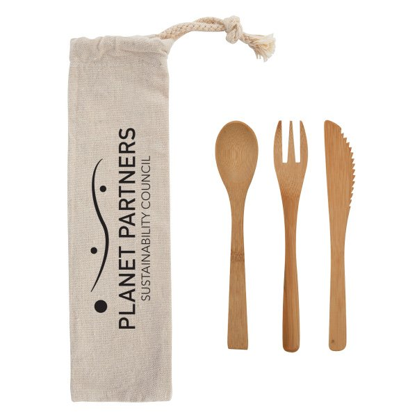 3 Piece Bamboo Utensil Set in Natural Cotton Travel Pouch - starts at $3.16 Image