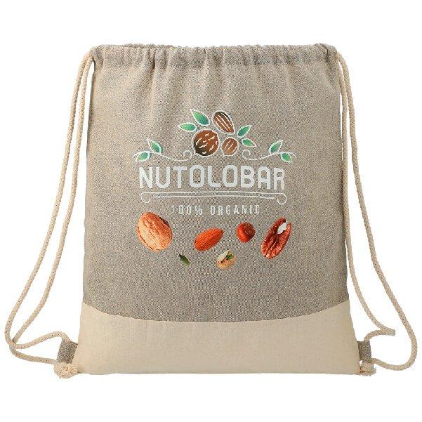 Split Recycled Cotton Drawstring Bag - starts at $2.98 Image