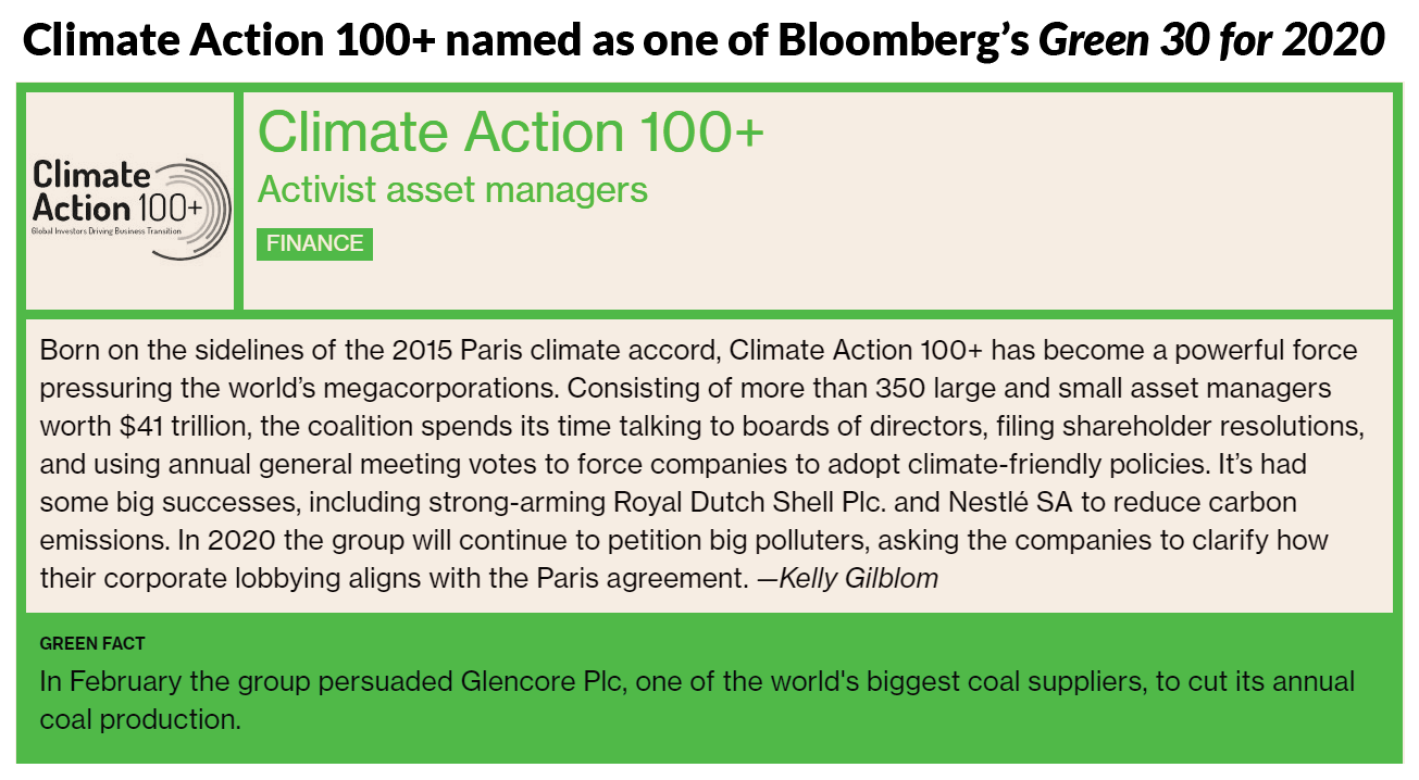Climate Action 100+ named as one of Bloomberg's Green 30 for 2020