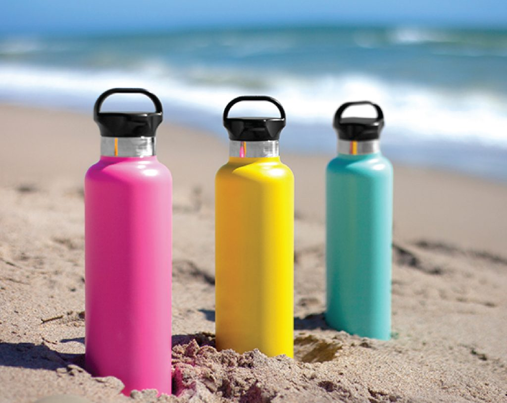 h2go ascent-3 colorful bottles on the beach